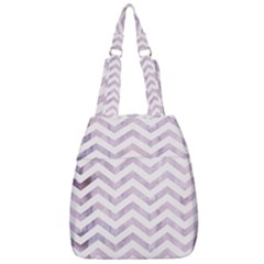 Watercolor Chevrons Cream Lilac Center Zip Backpack