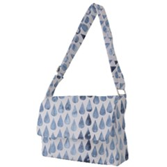Watercolor Rain Drops Denim Cream Full Print Messenger Bag (l) by goljakoff