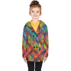 Abstract Colored Grunge Pattern Kids  Double Breasted Button Coat by fashionpod