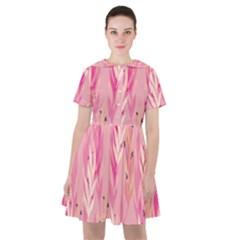 Pink Leaf Pattern Sailor Dress