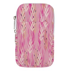 Pink Leaf Pattern Waist Pouch (large)