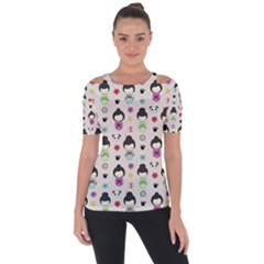 Russian Doll Shoulder Cut Out Short Sleeve Top