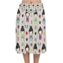 Russian Doll Velvet Flared Midi Skirt