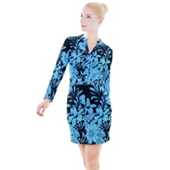 Blue Winter Tropical Floral Watercolor Button Long Sleeve Dress