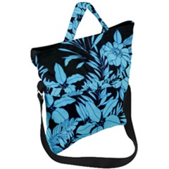 Blue Winter Tropical Floral Watercolor Fold Over Handle Tote Bag by dressshop