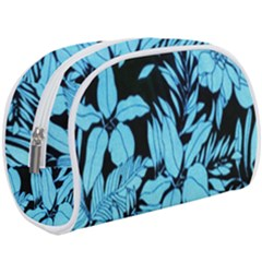 Blue Winter Tropical Floral Watercolor Makeup Case (large)