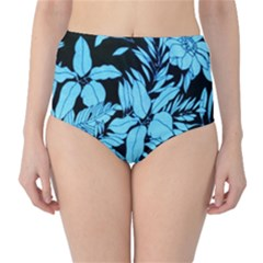 Blue Winter Tropical Floral Watercolor Classic High-waist Bikini Bottoms by dressshop