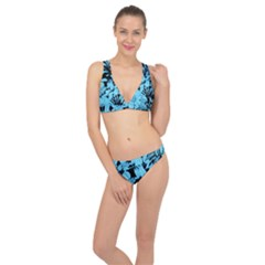 Blue Winter Tropical Floral Watercolor Classic Banded Bikini Set  by dressshop