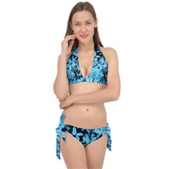 Blue Winter Tropical Floral Watercolor Tie It Up Bikini Set by dressshop