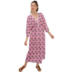 Patchwork Heart Pink Grecian Style  Maxi Dress