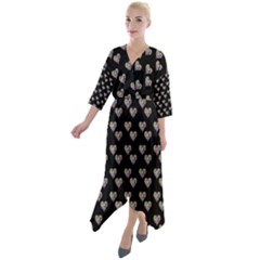 Patchwork Heart Black Quarter Sleeve Wrap Front Maxi Dress