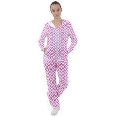 Chevrons Abstrait Rose Women s Tracksuit by kcreatif
