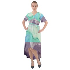 Abstract Marble Pattern Front Wrap High Low Dress
