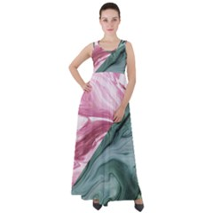 Abstract Marble Pattern Empire Waist Velour Maxi Dress