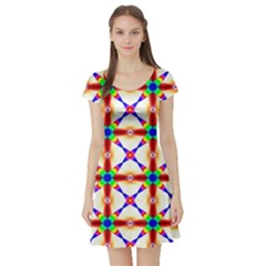 Rainbow Pattern Short Sleeve Skater Dress