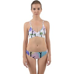 Forest Trees Nature Plants Wrap Around Bikini Set