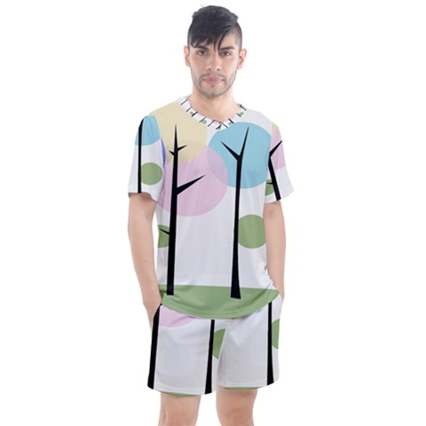 Forest Trees Nature Plants Men s Mesh Tee And Shorts Set by HermanTelo