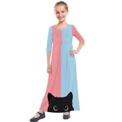 Sneaky Cat Kids  Quarter Sleeve Maxi Dress