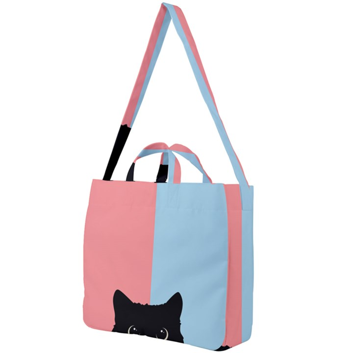 Sneaky cat Square Shoulder Tote Bag