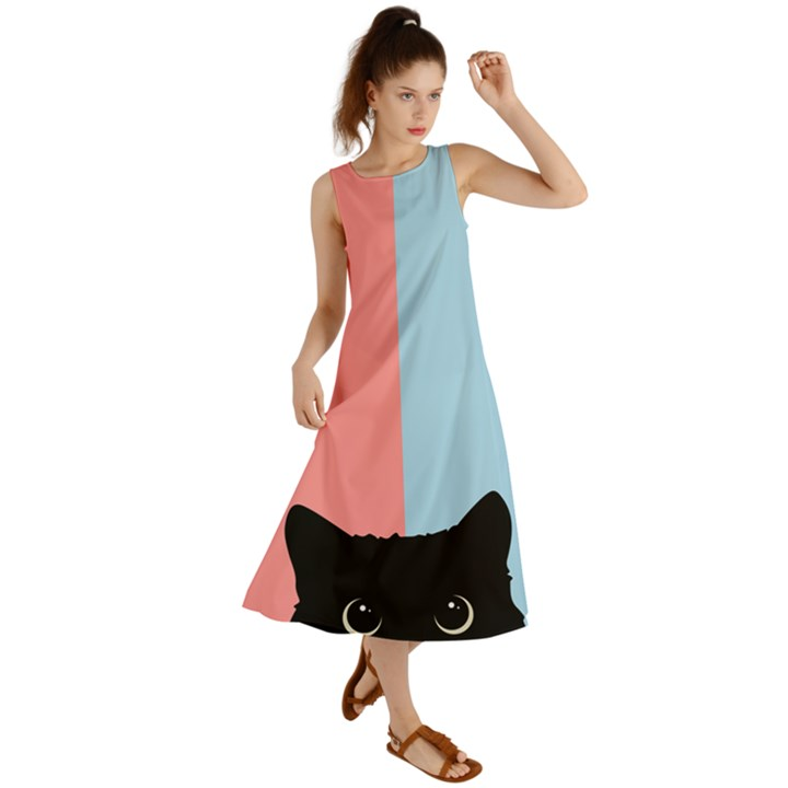 Sneaky cat Summer Maxi Dress