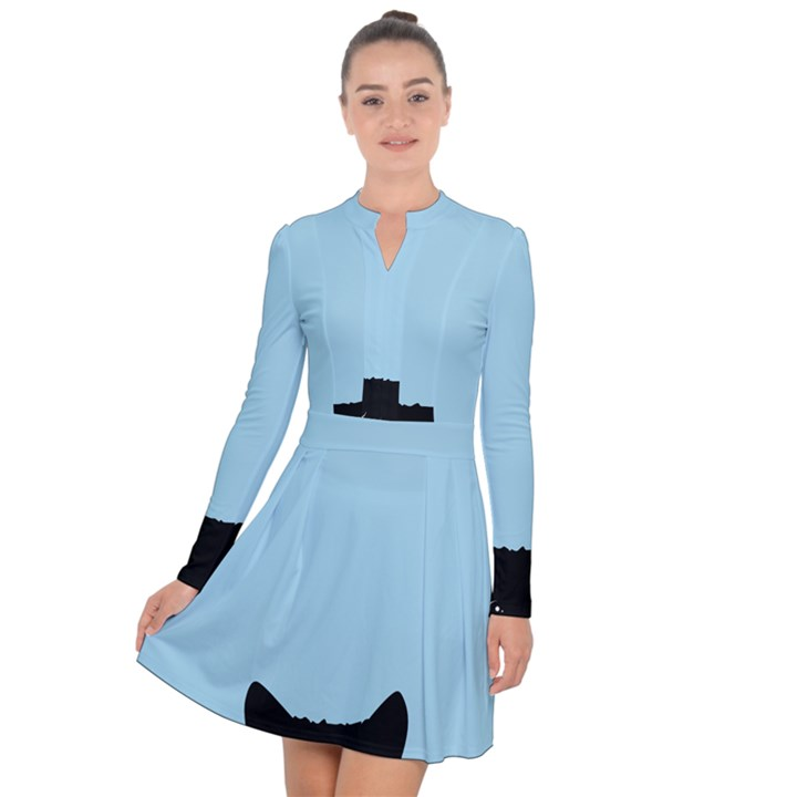 Sneaky kitty Long Sleeve Panel Dress