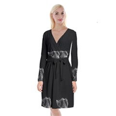 Who Is There? Long Sleeve Velvet Front Wrap Dress