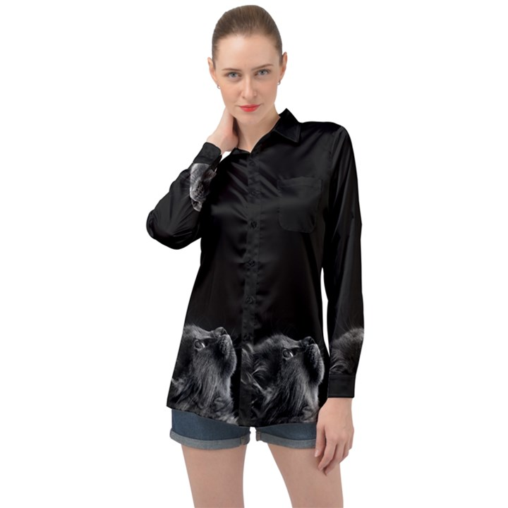 Who is there? Long Sleeve Satin Shirt