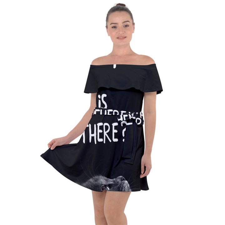 Who is there? Off Shoulder Velour Dress