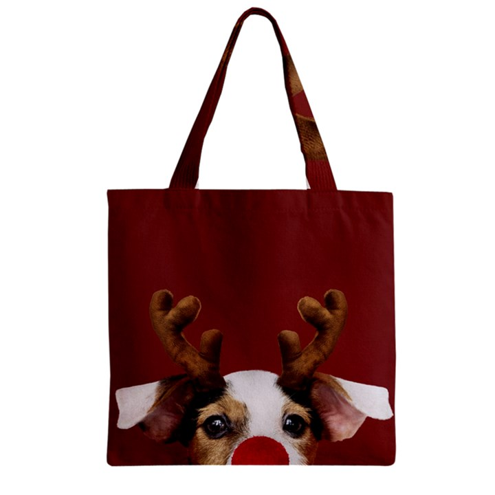 Christmass deer Zipper Grocery Tote Bag