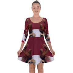 Christmass Deer Quarter Sleeve Skater Dress