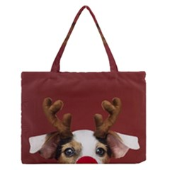 Christmass Deer Zipper Medium Tote Bag