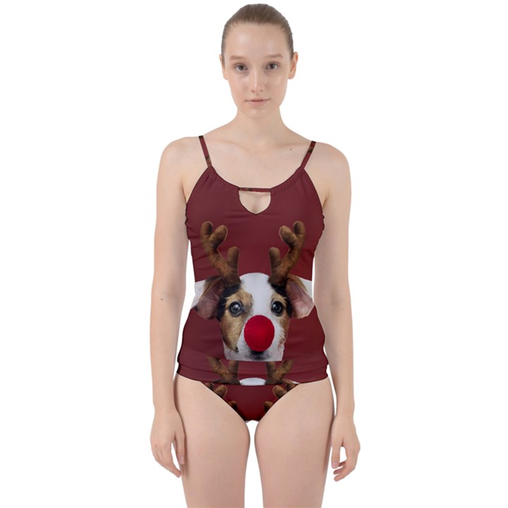 Christmass deer Cut Out Top Tankini Set