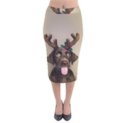 Christmas Dog Velvet Midi Pencil Skirt
