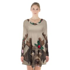 Christmas Dog Long Sleeve Velvet V Neck Dress