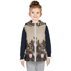 Christmas Dog Kids  Hooded Puffer Vest