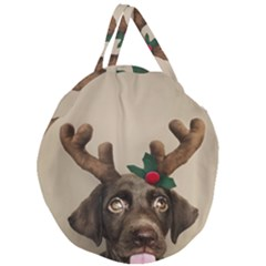 Christmas Dog Giant Round Zipper Tote
