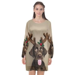 Christmas Dog Long Sleeve Chiffon Shift Dress