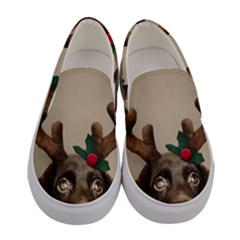 Christmas Dog Women s Canvas Slip Ons