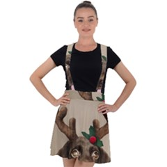 Christmas Dog Velvet Suspender Skater Skirt