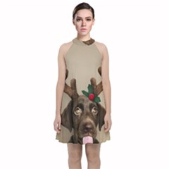 Christmas Dog Velvet Halter Neckline Dress