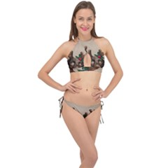 Christmas Dog Cross Front Halter Bikini Set