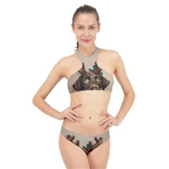 Christmas Dog High Neck Bikini Set
