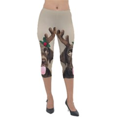 Christmas Dog Lightweight Velour Capri Leggings