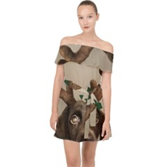 Christmas Dog Off Shoulder Chiffon Dress