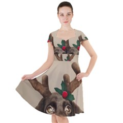 Christmas Dog Cap Sleeve Midi Dress