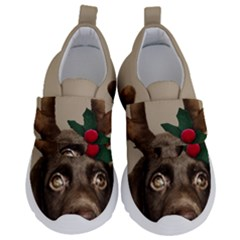 Christmas Dog Kids  Velcro No Lace Shoes
