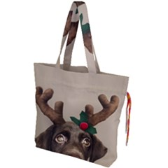 Christmas Dog Drawstring Tote Bag