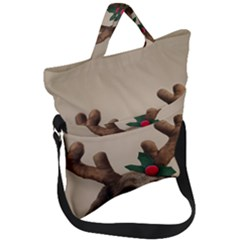 Christmas Dog Fold Over Handle Tote Bag