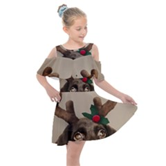 Christmas Dog Kids  Shoulder Cutout Chiffon Dress