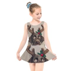 Christmas Dog Kids  Skater Dress Swimsuit